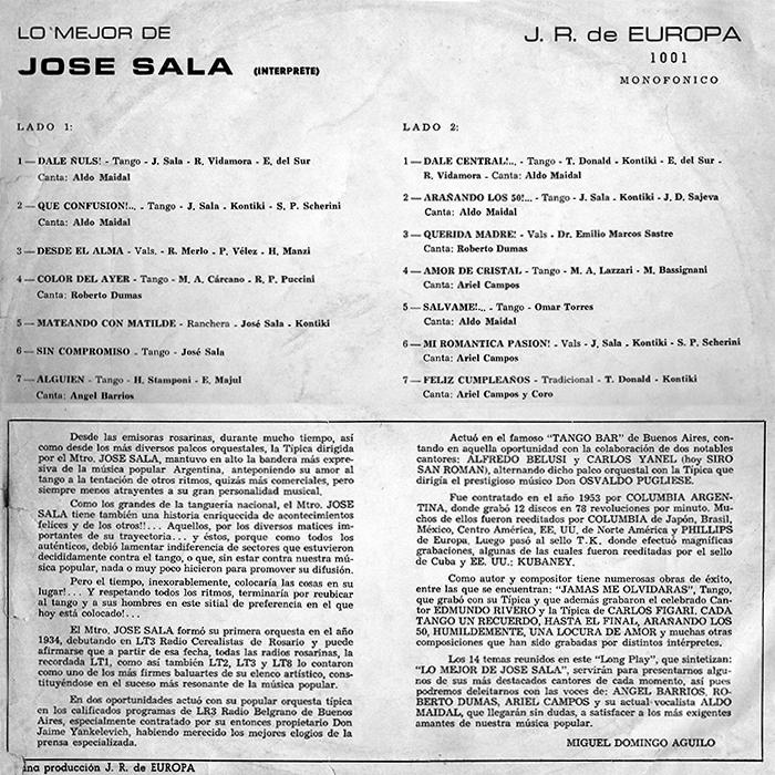 Lo mejor de José Sala contratapa